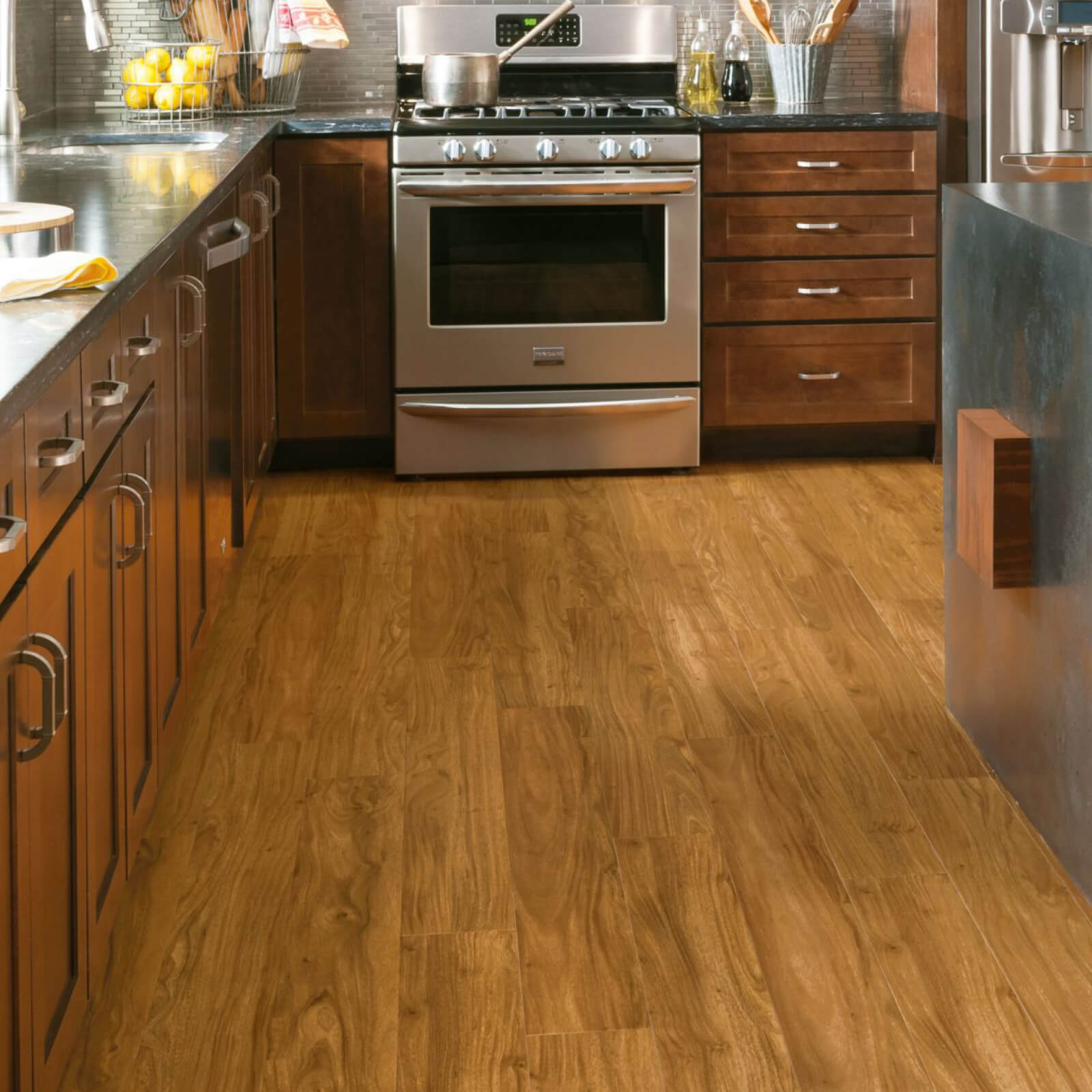 Tropical oak luxury vinyl tile in kitchen | Custom Floors