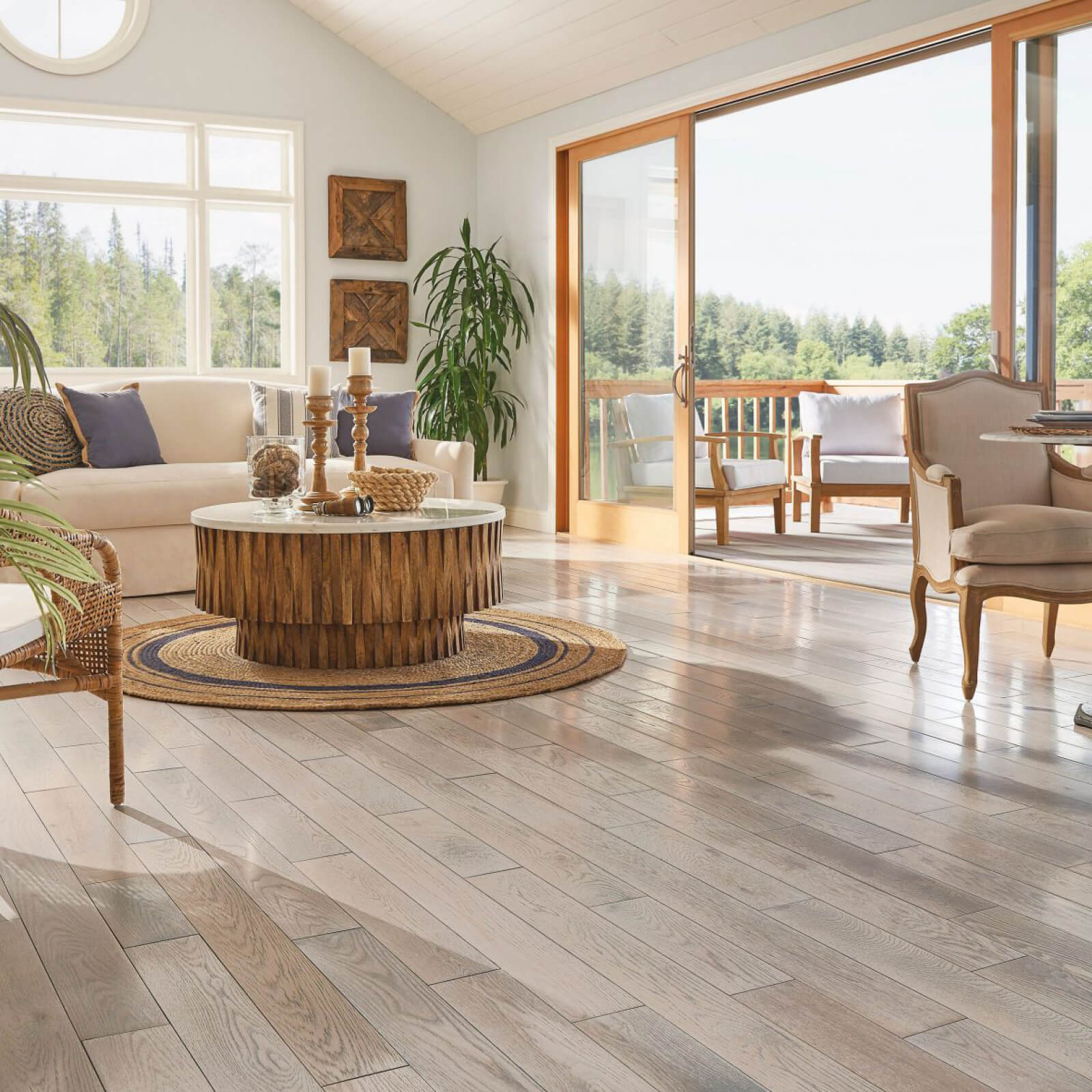 Hardwood flooring in living room | Custom Floors