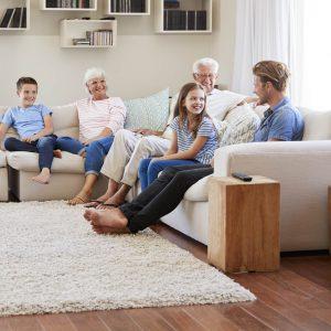 Family on sofa with area rug   Custom Floors