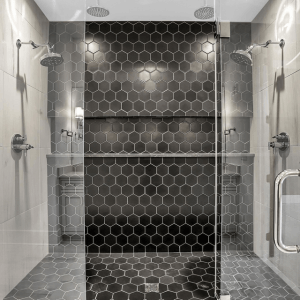 Black Tile Shower - Alison | Custom Floors